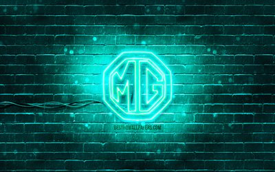 MG turquoise logo, 4k, turquoise brickwall, MG logo, cars brands, MG neon logo, MG