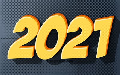 2021 new year, 4k, artwork, 2021 yellow 3D digits, 2021 concepts, 2021 on gray background, 2021 year digits, Happy New Year 2021