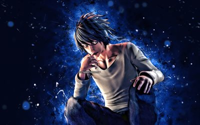 L Death Note, 4k, blue neon lights, manga, Death Note characters, Eru, L Lowlight, protagonist, Death Note