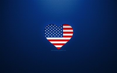 I Love USA, 4k, North American countries, blue dotted background, American flag heart, USA, favorite countries, Love USA, US flag, american flag