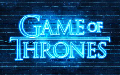 Game Of Thrones blue logo, 4k, blue brickwall, TV Series, Game Of Thrones logo, fashion Game Of Thrones neon logo, Game Of Thrones