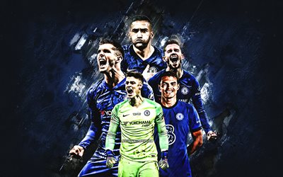 Chelsea FC, english football club, blue stone background, Premier League, soccer, England, Hakim Ziyech, Thiago Silva, Christian Pulisic