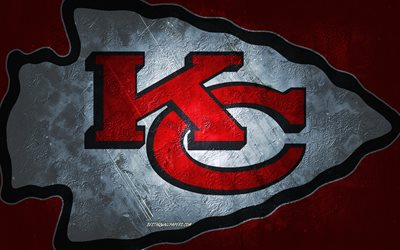 Kansas City Chiefs, American football team, red stone background, Kansas City Chiefs logo, grunge art, NFL, American football, USA, Kansas City Chiefs emblem
