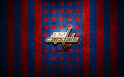 Washington Capitals flag, NHL, blue red metal background, american hockey team, Washington Capitals logo, USA, hockey, golden logo, Washington Capitals