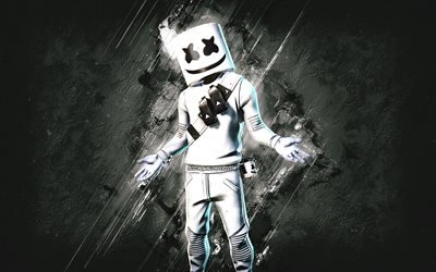 Fortnite Marshmello Skin, Fortnite, main characters, white stone background, Marshmello, Fortnite skins, Marshmello Skin, Marshmello Fortnite, Fortnite characters