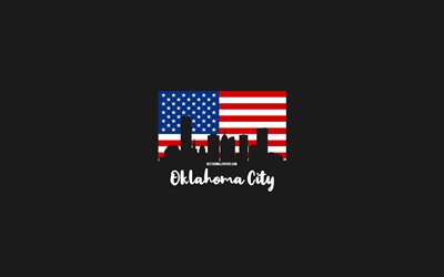 Oklahoma City, American cities, Oklahoma City silhouette skyline, USA flag, Oklahoma City cityscape, American flag, USA, Oklahoma City skyline