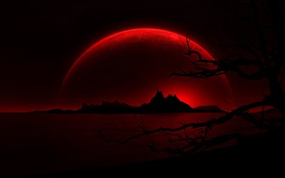 silhouette of mountains, 4k, moon, red landscape, nightscapes, red planet