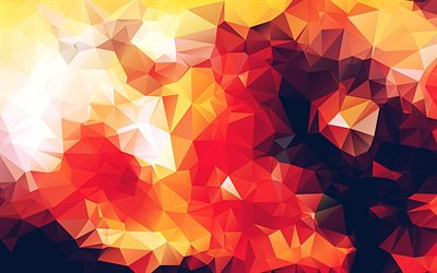 orange geometric shapes, low poly patterns, geometric patterns, 3D figures, orange 3D background, 3D geometric textures, low poly textures