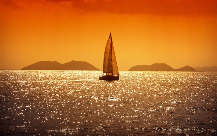 sailboat, evening, sunset, yacht at sea, Adriatic Sea, Croatia