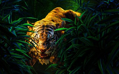 angry tiger, 4k, jungle, 3D art, predators, cartoon tiger, wildlife, tigers