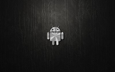Android, 4k, metal logo, gray background