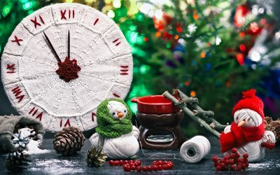Christmas, Clock, New Year, snowmen, Christmas decorations