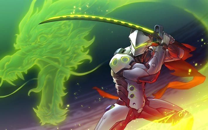 Download Wallpapers Genji, 4k, Characters, Overwatch For