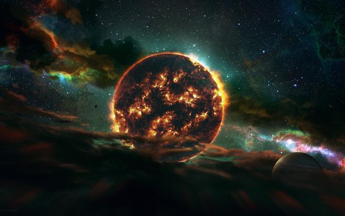 Download Wallpaper 2780x2780 Planet Galaxy Universe: Download Wallpapers Fire Planet, Solar System, Galaxy