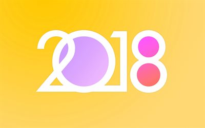 Happy New Year, 2018, abstraction, yellow background, numbers, 2018 concepts