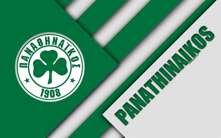 Panathinaikos FC, Atina, 4k, Yeşil, Beyaz soyutlama, logo, malzeme tasarımı, Yunan Futbol Kulübü, Süper Lig, Yunanistan, Superleague Greece