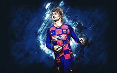 Antoine Griezmann, FC Barcelona, French football player, portrait, blue stone background, La Liga, Spain, Catalonia, football