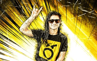 Skrillex, american DJ, grunge art, Sonny John Moore, music stars, american celebrity, superstars, yellow abstract rays, DJ Skrillex, DJs