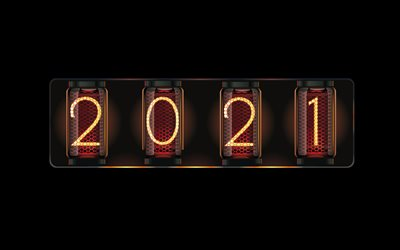 2021 Edison lamps, 2021 New Year, 2021 lamps background, 2021 concepts, Happy New Year 2021, creative art