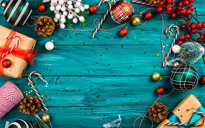 christmas frames, blue wooden background, christmas decorations, xmas gifts, xmas balls, gift boxes, Happy New Year, Merry Christmas, new year concepts, xmas frames