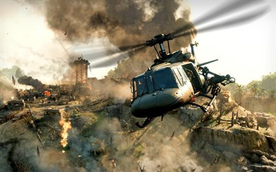 Call of Duty, Black Ops Cold War, Bell UH-1 Iroquois, poster, materiale promozionale, elicotteri militari