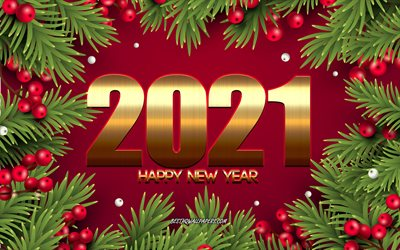 Happy New Year 2021, 4k, Red Christmas background, Christmas tree frame, 2021 New Year, 2021 concepts, 2021 Gold background