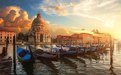 Venice, Grand canal, cathedral, boats, morning, sunrise, Italy, Venice cityscape