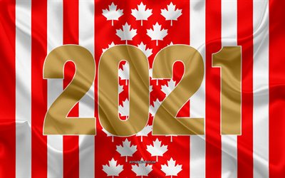 Canada 2021, 4k, 2021 New Year, Canada, silk texture, 2021 concepts