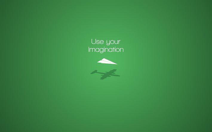 use your imagination, green background, motivation concepts, imagination quotes, minimalism