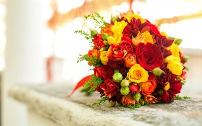 Wedding bouquet, red roses, yellow roses, beautiful flowers