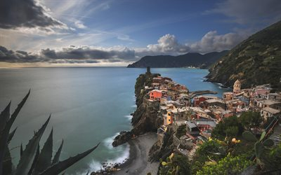Cinque Terre, sea, evening, coast, Mediterranean, Vernazza, Italy, Ligurian Sea
