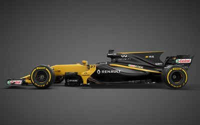 Formula 1, Renault RS17, 2017, F1, Racing car, side view