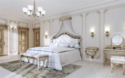 luxurious bedroom interior, classic style, white bedroom, luxurious classic furniture, interior design