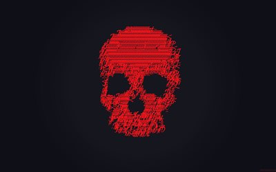 skull, 4k, gray background, minimal, red skull