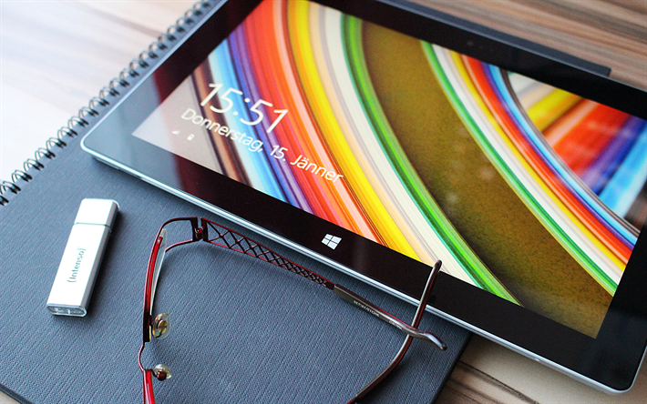Microsoft Surface Pro 3, 4k, close-up, la Surface Pro 3, ordinateur portable, Microsoft