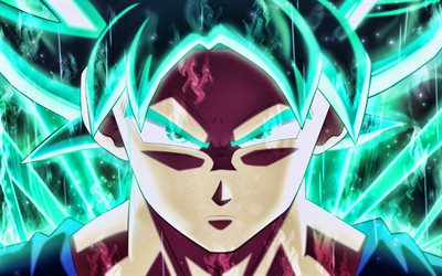 Son Goku, turquoise flames, 4k, Super Saiyan Blue, 2019, DBS characters, artwork, DBS, Super Saiyan God, close-up, Dragon Ball Super, manga, Dragon Ball, Goku