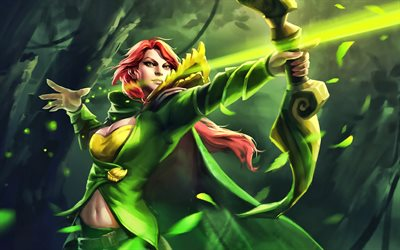 Windranger, female archer, Dota 2, artwork, warriors, Dota2, Windranger Dota
