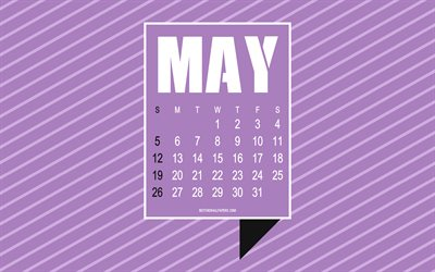 2019 May calendar, purple background with lines, typography, stylish art, abstract May 2019 calendar, spring, May, 2019 concepts, calendar for May 2019, art