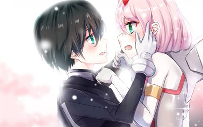 Darling In The Frankxx, Hiro, Zero Two, art, japanese manga, anime characters, couple