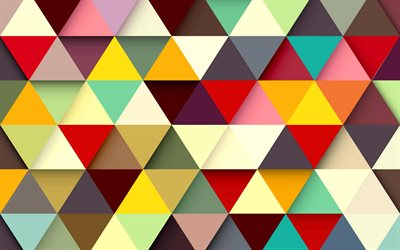 Abstract triangular background, multicolored abstraction, colored triangles, geometric texture, multicolored geometric background
