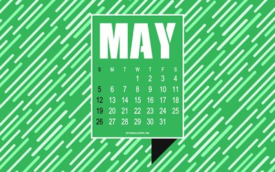 2019 May calendar, green abstract background, creative art, typography, calendar for May 2019, art, 2019 calendars