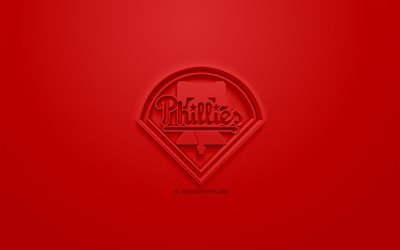 Philadelphia Phillies, Americana di baseball club, creativo logo 3D, sfondo rosso, emblema 3d, MLB, Philadelphia, Pennsylvania, USA, Major League di Baseball, 3d arte, il baseball, il logo 3d