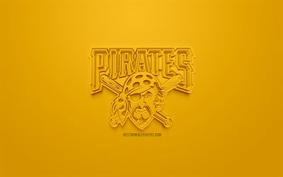 Pittsburgh Pirates, American club di baseball, creativo logo 3D, sfondo giallo, emblema 3d, MLB Pittsburgh, Pennsylvania, USA, Major League di Baseball, 3d arte, il baseball, il logo 3d