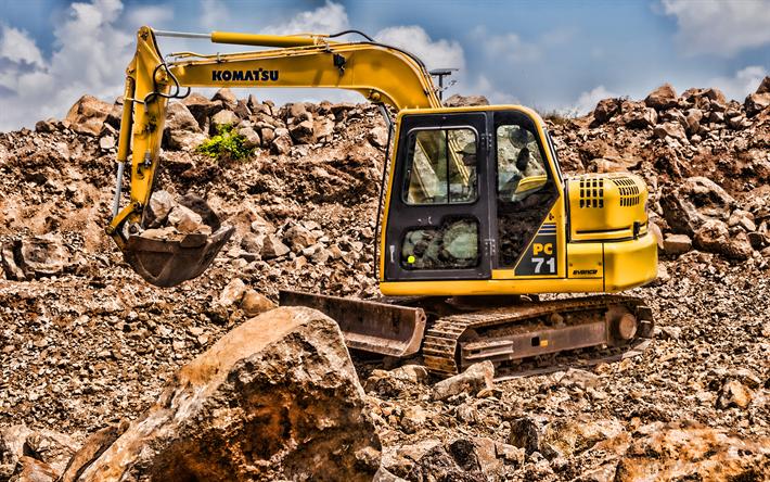 Komatsu PC71, 4k, HDR, multi terrain loader, crawler excavator, construction vehicles