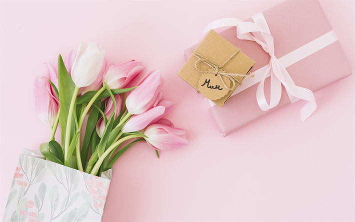 Pink tulips, Mothers Day, pink background, bouquet of tulips, Mom, fot for a card, tulips on a pink background