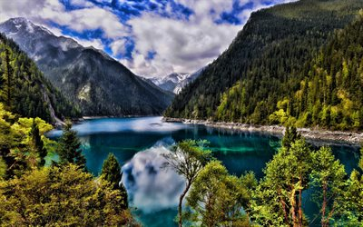 China, mountains lake, summer, HDR, beautiful nature, Asia, mountains