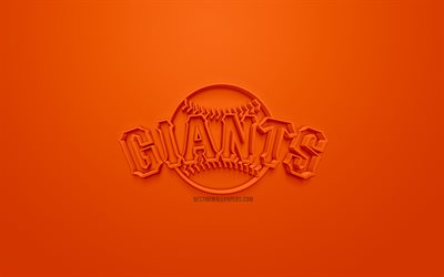 San Francisco Giants, American club di baseball, creativo logo 3D, sfondo arancione, emblema 3d, MLB, San Francisco, California, USA, Major League di Baseball, 3d arte, il baseball, il logo 3d