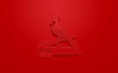 St Louis Cardinals, American club di baseball, creativo logo 3D, sfondo rosso, emblema 3d, MLB, St Louis, Missouri, USA, Major League di Baseball, 3d arte, il baseball, il logo 3d