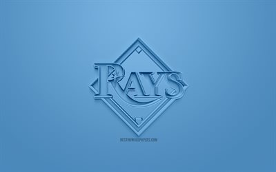 Tampa Bay Rays, American club di baseball, creativo logo 3D, sfondo blu, emblema 3d, MLB, St Petersburg, Florida, USA, Major League di Baseball, 3d arte, il baseball, il logo 3d