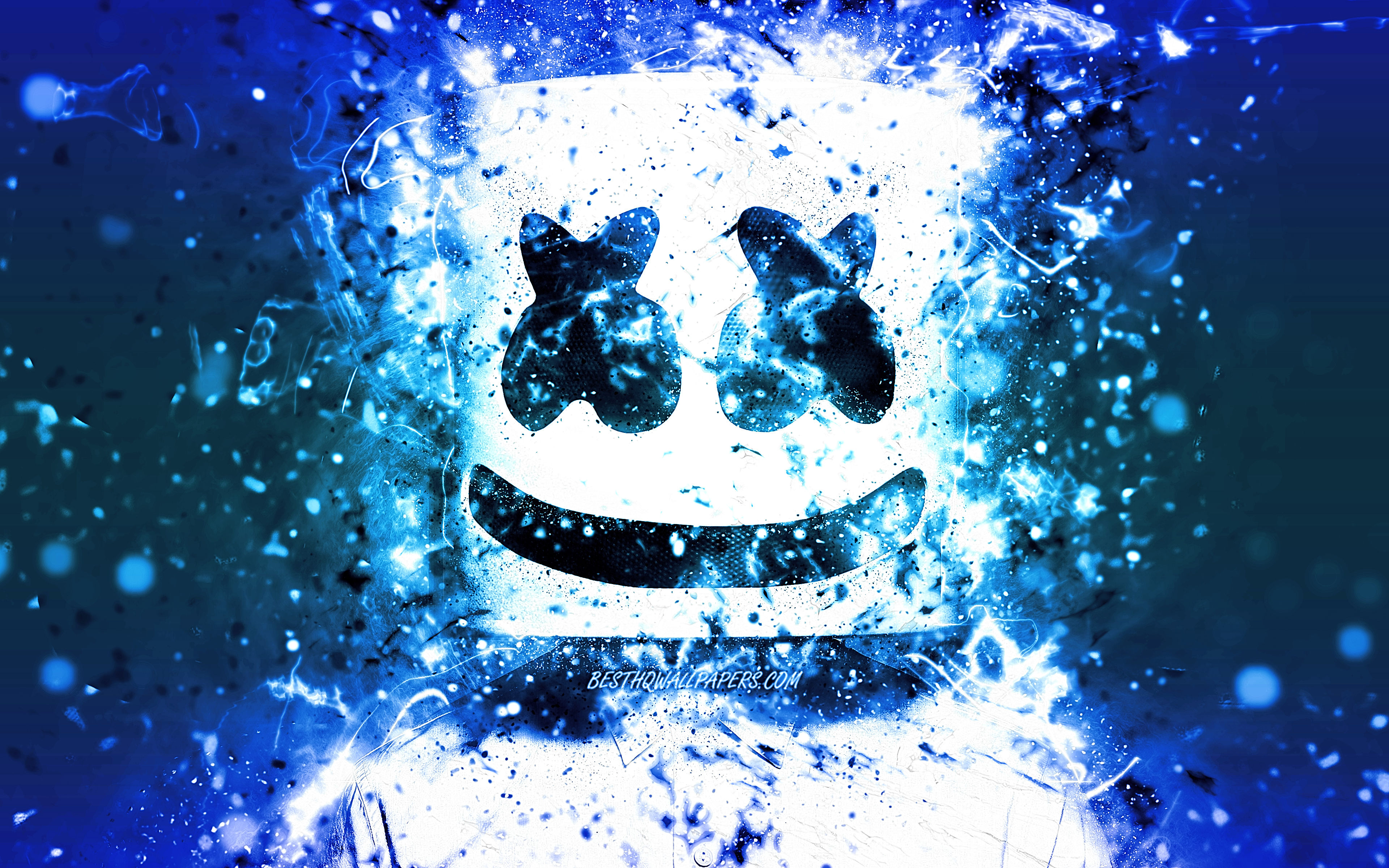 Marshmello, 4k, néon bleu, american DJ, fan art, Christopher Comstock, Marshmello 4K, des illustrations, des superstars, créatif, DJ Marshmello, DJs